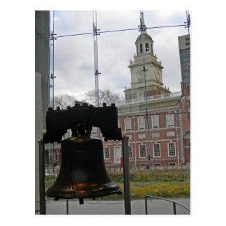 Liberty Bell und Unabhängigkeit Hall Postkarte