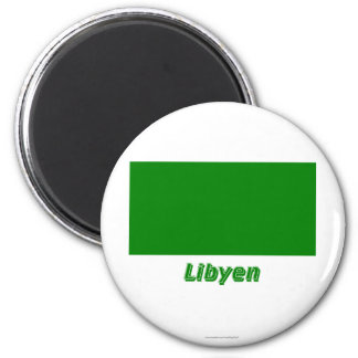 Libyen Flagge MIT Namen Runder Magnet 5,7 Cm