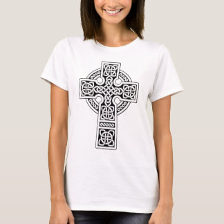 Licht des keltischen Kreuzes weiß und schwarz T-Shirt