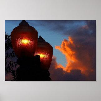 Lichter am Sonnenuntergang Poster