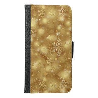 Lichter u. Schneeflocken, Gold - (Galaxie S6, S5, Geldbeutel Hülle Für Das Samsung Galaxy S6