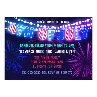 Lichter und Feuerwerke 4. von Juli-Party Karte