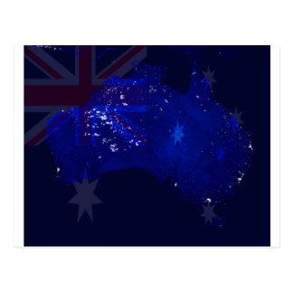 Lichter von Australien vom Raum und von der Flagge Postkarte
