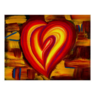 Liebe-abstraktes Herz-Öl-Pastell-Plakat