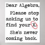 Liebe Algebra stoppt bitte, uns zu fragen, um Ihr