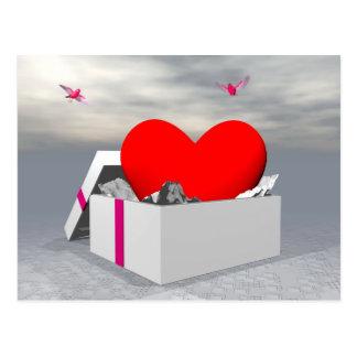 Liebe als Geschenk - 3D übertragen Postkarte