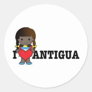 Liebe Antigua Runder Aufkleber
