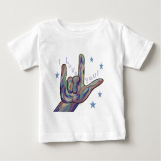 Liebe ASL I Sie Denim-und Tarnungs-Farben Baby T-shirt