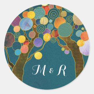 Liebe-Baum-aquamarine Hochzeits-Monogramme Runder Aufkleber
