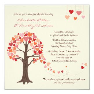 Liebe-Baum-Herz-Polterabend-Einladung Quadratische 13,3 Cm Einladungskarte