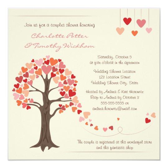 Liebe-Baum-Herz-Polterabend-Einladung Quadratische 13,3 Cm Einladungskarte | Zazzle