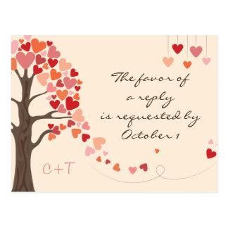 Liebe-Baum-Herzen, die uAwg Wedding sind Postkarte