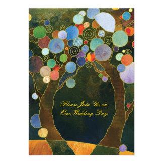 Liebe-Bäume in der blauen künstlerischen Personalisierte Ankündigungen