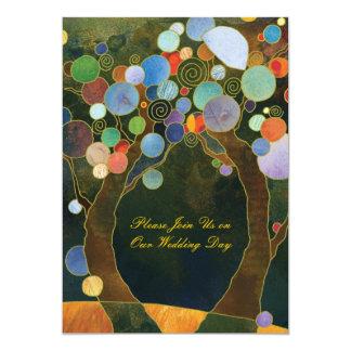 Liebe-Bäume in der blauen rustikalen Land-Hochzeit Karte
