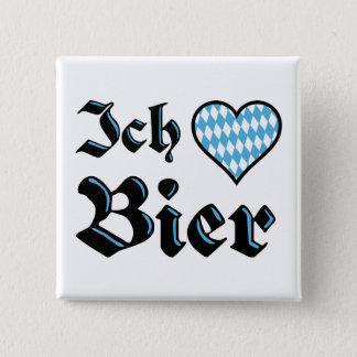 Liebe-Bier-Knopf des Bayer-I Quadratischer Button 5,1 Cm
