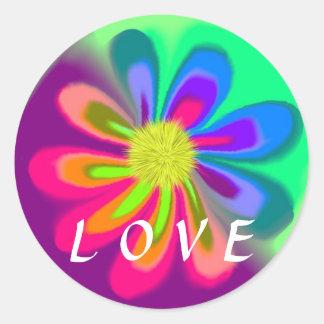 Liebe-Blume Runder Aufkleber
