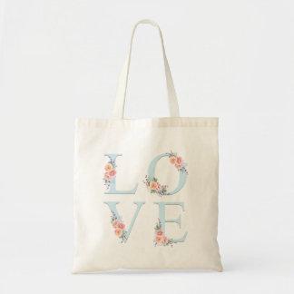 Liebe Blüten-in der Blumenalphabet-Typografie Tragetasche