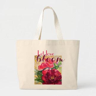 Liebe-Blüten-Rosen-Kunst-riesige Leinwand-Tasche Jumbo Stoffbeutel