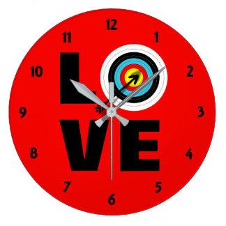 Liebe-Bogenschießen-Sport-Ziel-Brett-coole Grafik Große Wanduhr