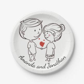 Liebe-Braut, pflegen personalisierte Schwarz-weiße Pappteller 17,8 Cm