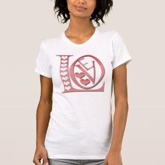 Liebe-Buchstaben mit Herzen durch Shirley Taylor T-Shirt