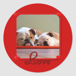 Liebe-Bulldoggenaufkleber