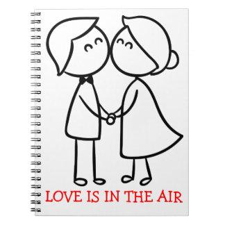 Liebe-Cartoon-Schwarz-weiße küssende Paare - Spiral Notizblock