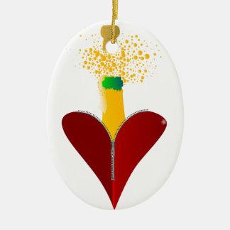 Liebe Champagne Keramik Ornament