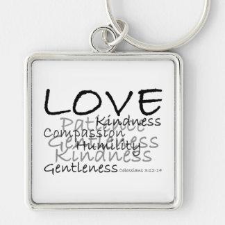 Liebe (Colossians 3) Keychain Silberfarbener Quadratischer Schlüsselanhänger