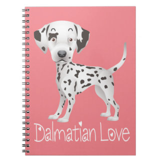 Liebe-dalmatinisches Cartoon-Welpen-Hunderosa - Notizblock