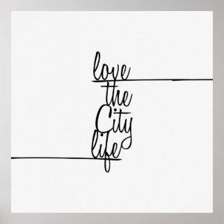 """""""Liebe das Stadt-Lebens-"""" Typografie Poster"""
