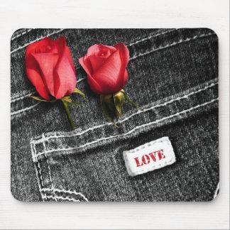 Liebe. Denim-Entwurfs-Valentinstag-Geschenk Mousepad