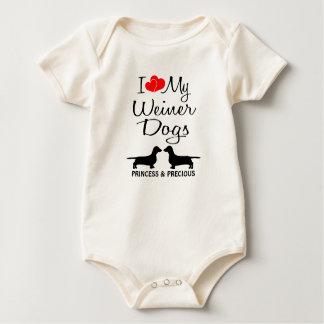 Liebe der Gewohnheits-I meine zwei Weiner Hunde Baby Strampler