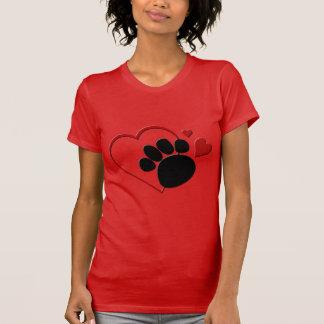 Liebe der Hundetatzen-Herz-I mein Hund rotes T-Shirt