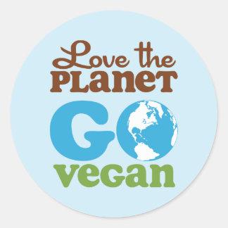 Liebe der Planet gehen vegan Runde Aufkleber