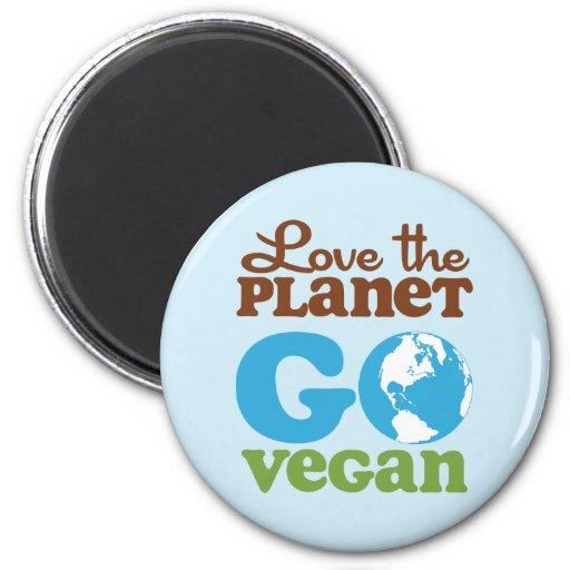 Liebe der Planet gehen vegan Kühlschrankmagnet