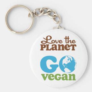 Liebe der Planet gehen vegan Standard Runder Schlüsselanhänger