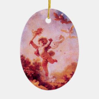 LIEBE der SPASSVOGEL, AMOR-MONOGRAMM rotes Keramik Ornament
