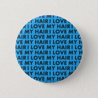 Liebe des Blau-I mein Haar-mutiger Text-Ausschnitt Runder Button 5,1 Cm
