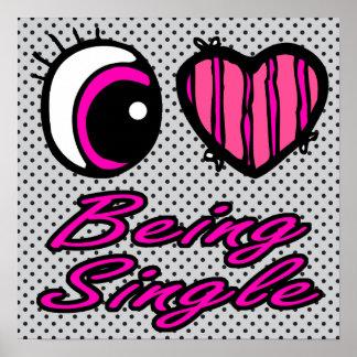Liebe des Emo Augen-Herz-I, die Single ist Poster