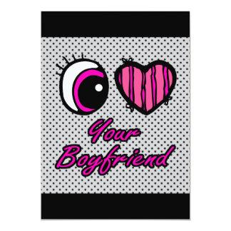 Liebe des Emo Augen-Herz-I Ihr Freund 12,7 X 17,8 Cm Einladungskarte