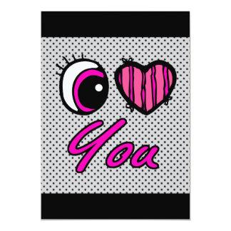 Liebe des Emo Augen-Herz-I Sie 12,7 X 17,8 Cm Einladungskarte