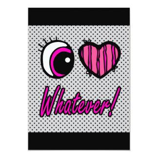 Liebe des Emo Augen-Herz-I was auch immer 12,7 X 17,8 Cm Einladungskarte