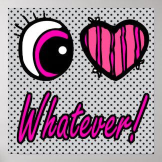 Liebe des Emo Augen-Herz-I was auch immer Poster