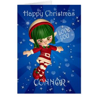 Liebe des glückliches Weihnachtself-Sprichworts I Karte
