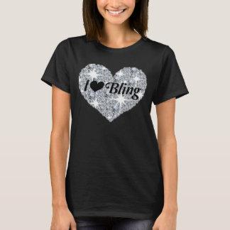 Liebe des Imitatdiamant-Herzens I, die schwarzen T T-Shirt