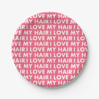 Liebe des Rosa-I mein Haar-mutiger Text-Ausschnitt Pappteller