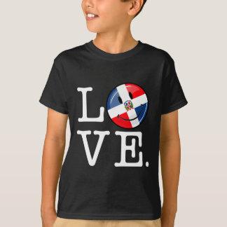 Liebe die Dominikanische Republik-lächelnde Flagge T-Shirt