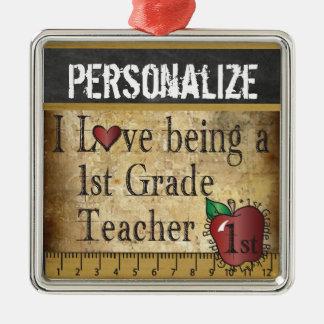 Liebe, die ein 1. Grad-Lehrer | Vintag ist Silbernes Ornament