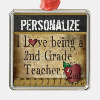 Liebe, die ein 2. Grad-Lehrer ist Silbernes Ornament